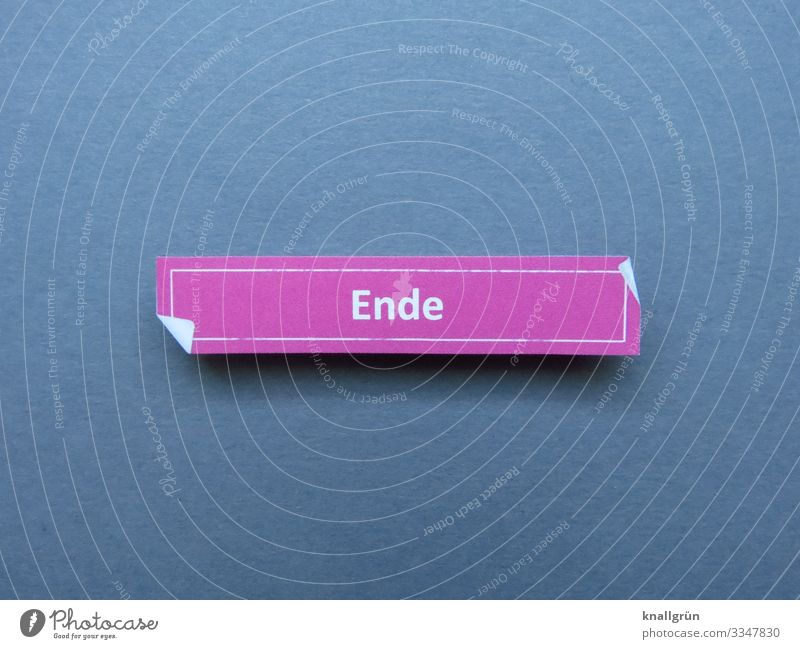 end End Communicate Signs and labeling Characters Word letter over Typography Latin alphabet Language Letters (alphabet) communication Colour photo Gray pink