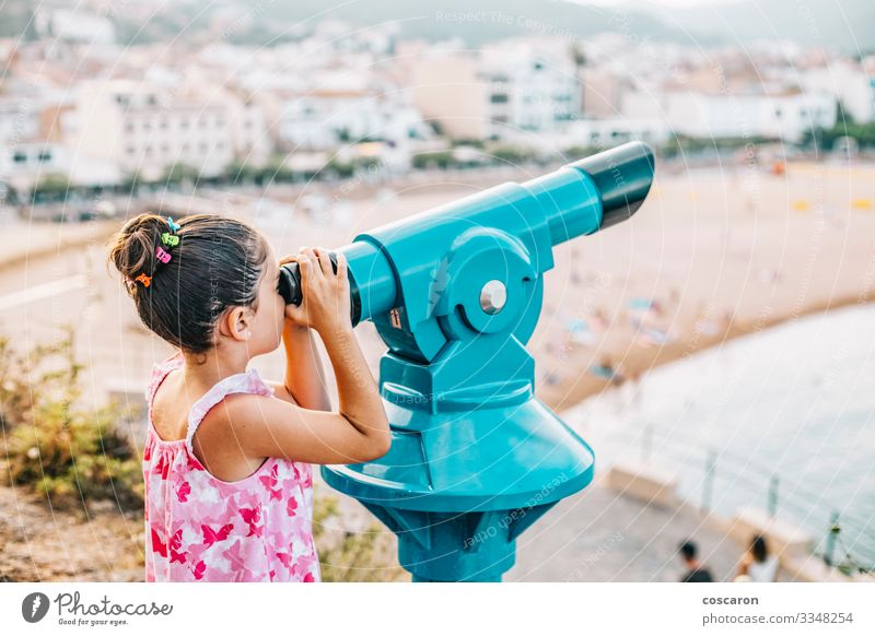 Girl looking the beach through a telescope Woman Child Human being Vacation & Travel Nature Blue Beautiful Water Landscape Ocean Far-off places Beach Lifestyle