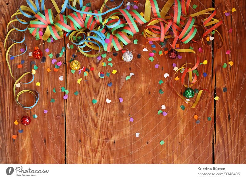 confetti and air snakes Joy Decoration Feasts & Celebrations Carnival New Year's Eve Birthday Disco ball Happiness Funny Multicoloured Confetti Paper streamers