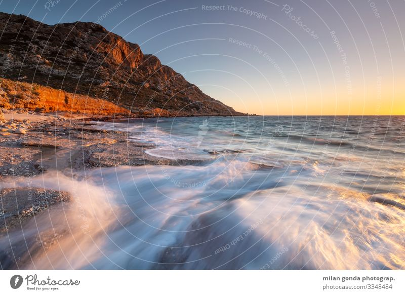Crete. Beach Ocean Mountain Nature Rock Coast Moody Europe Mediterranean Greece Greek Lasithi Goudouras seascape Sunset Evening Long exposure
