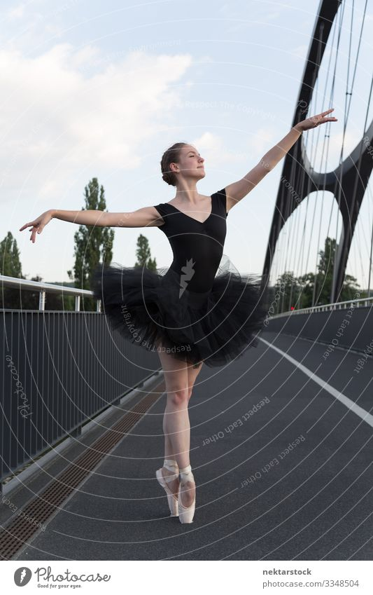 Young Ballerina Demonstrating Pointe Technique on Road Beautiful Dance Success Woman Adults Youth (Young adults) Ballet Street Highway Uniqueness Determination