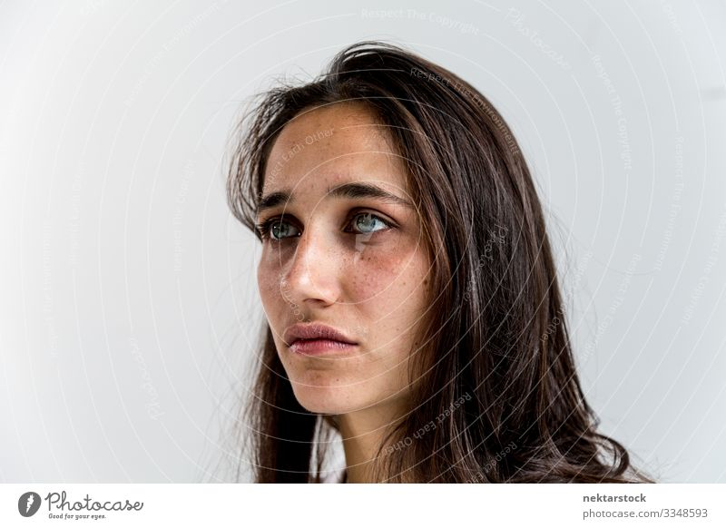 Face Portrait of a Mixed Race Young Woman Beautiful Adults Youth (Young adults) Youth culture Pain Longing girl wall Indian Mixed race ethnicity