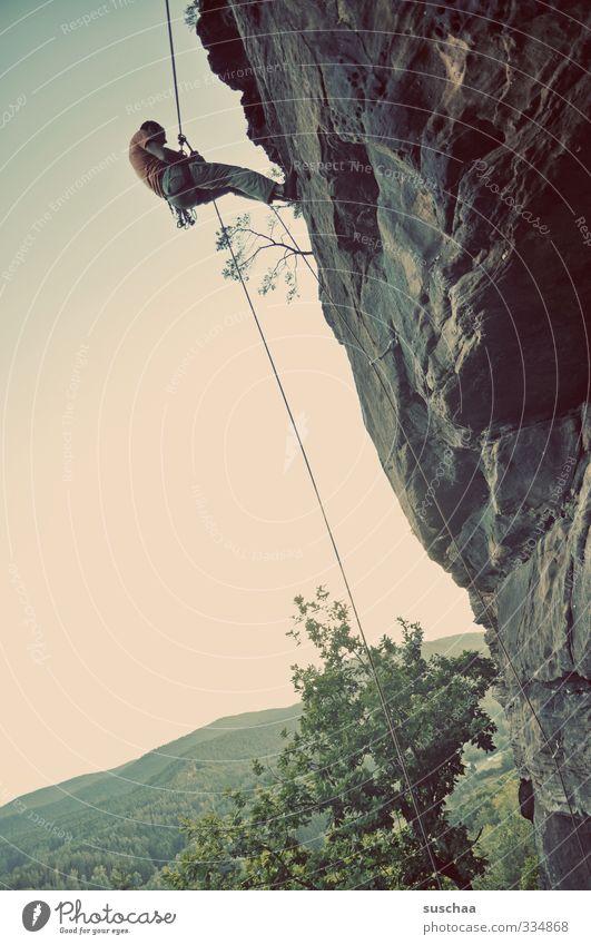 Human being Sky Nature Man Tree Landscape Mountain Sports Rock Dangerous Rope Climbing Mountaineer