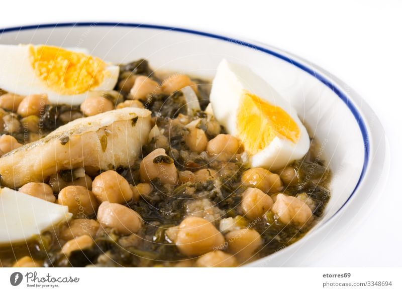 Chickpea stew with spinach and cod or potaje de vigilia Bread Chickpeas Cod Cooking Delicious Easter Fish Food Healthy Eating Food photograph Grain Holy Week