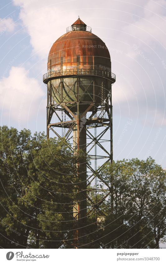 old water tower Beverage Drinking Drinking water Living or residing Work and employment Workplace Water Sky Clouds Summer Plant Tree Field Industrial plant Ruin