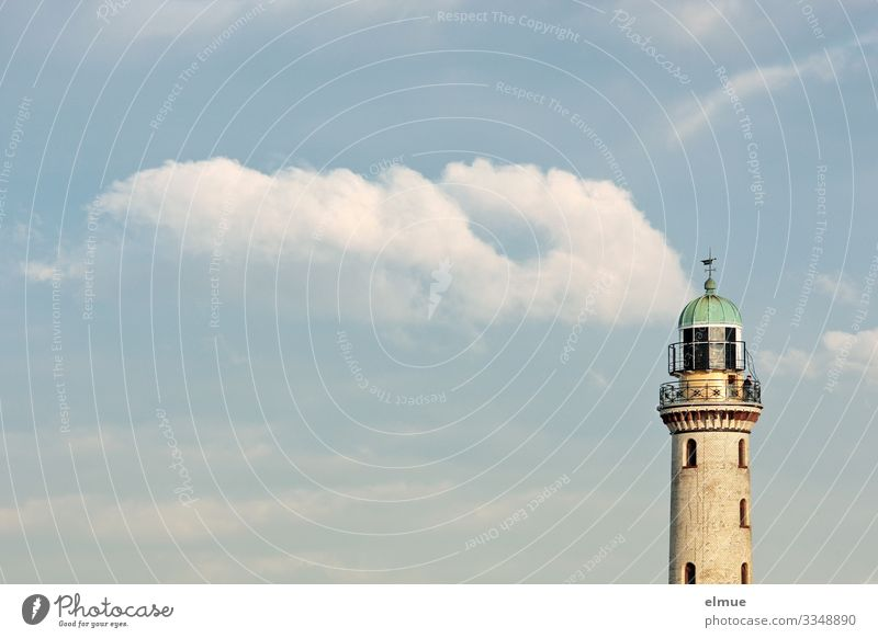 Cloudy Vacation & Travel Adventure Far-off places Summer vacation Clouds Beautiful weather Warnemünde Lighthouse Old Historic Maritime Original Happy Romance