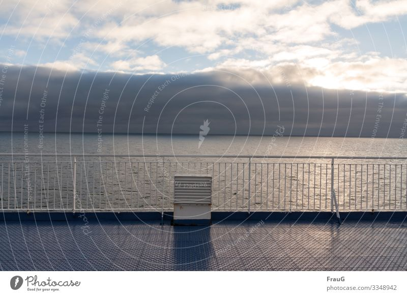 It smells like... sea... and rain... Ocean Ferry Ventilation shaft Handrail Cloud formation Sun Light Crossing Vacation & Travel Navigation Travel photography