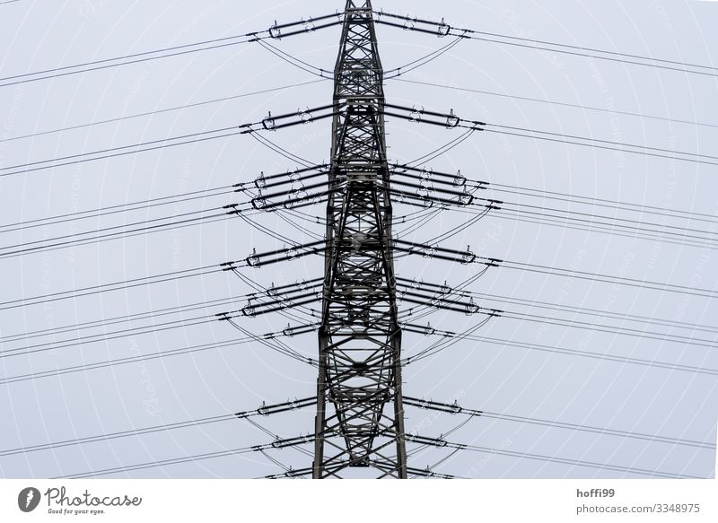 orderly line Energy industry Clouds Bad weather Fog Rain High voltage power line Electricity pylon Transmission lines Line Esthetic Dark Modern Town Bizarre
