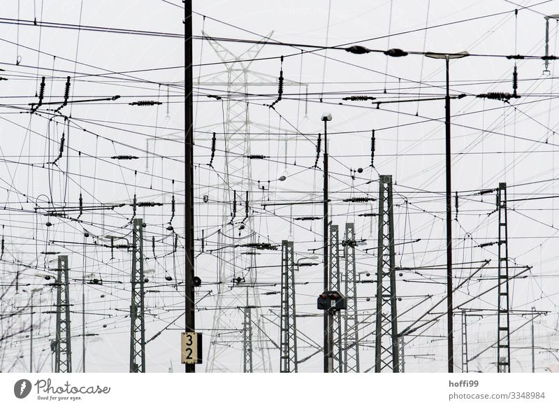 Confusion of supply Energy industry Industry Electricity pylon Transmission lines Electronics Track Overhead line Bad weather Fog Industrial plant Train station