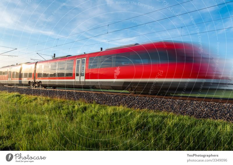 High-speed german train traveling through nature. Summer travel Vacation & Travel Sun Nature Landscape Beautiful weather Grass Meadow Transport Public transit