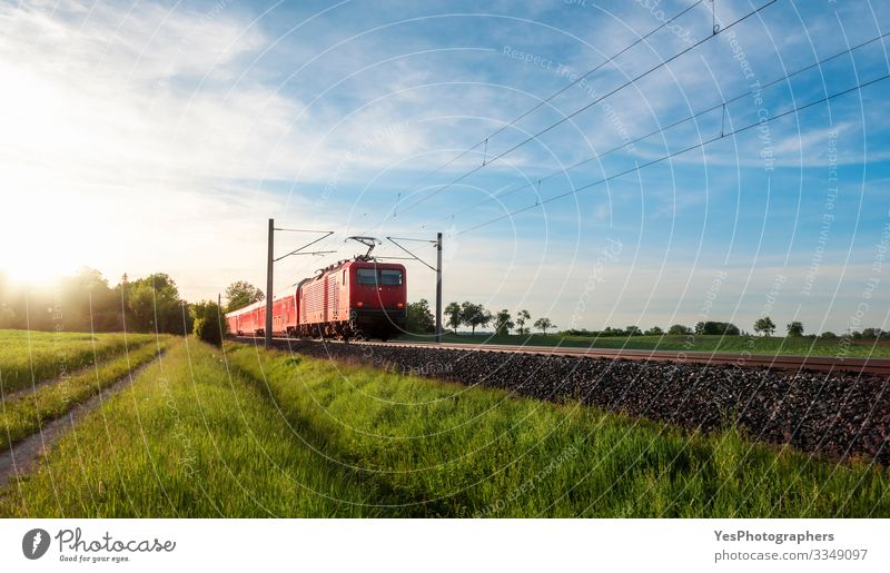 Red train traveling in a summer landscape. Train in nature Vacation & Travel Summer Sun Nature Landscape Beautiful weather Grass Meadow Transport