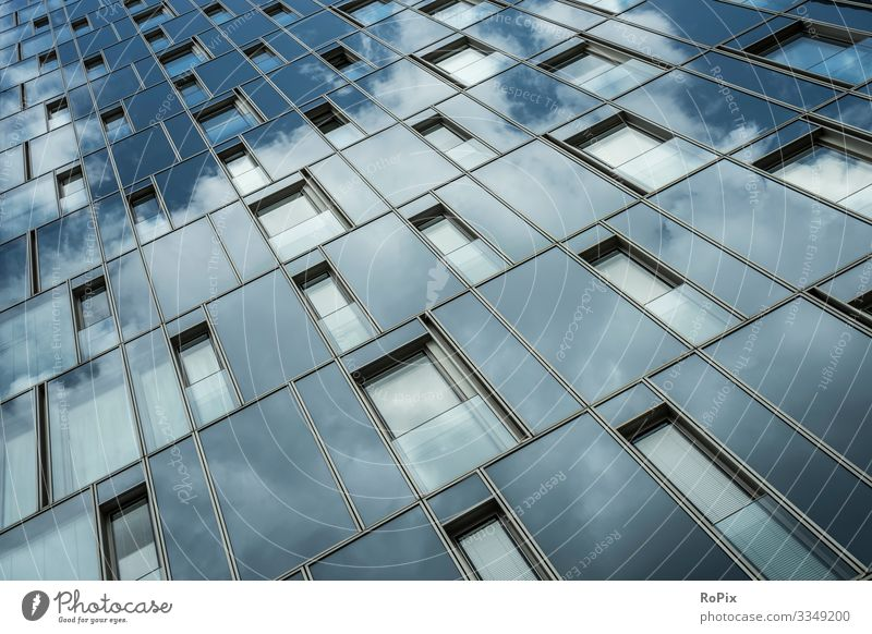Modern glass facade of a high rise building. Lifestyle Luxury Style Design Living or residing House (Residential Structure) Science & Research