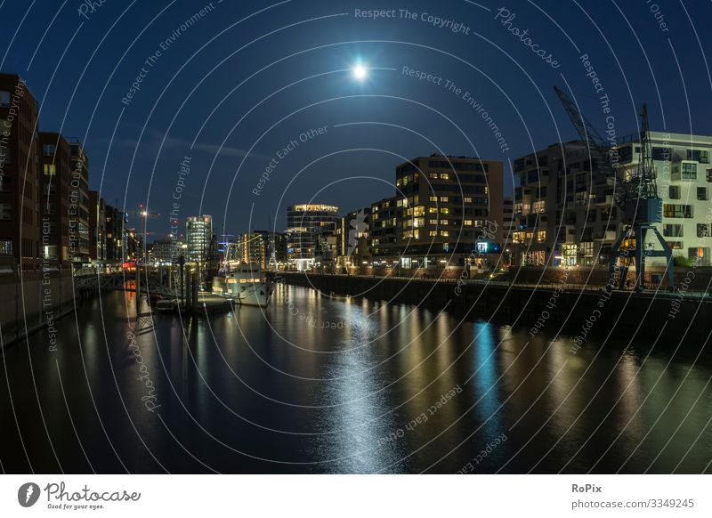 Hamburger Hafencity bei Nacht. Lifestyle Elegant Style Vacation & Travel Tourism Sightseeing City trip Living or residing Work and employment Profession Office