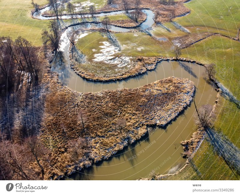 Flight over a small winding river Nature Water Field Brook River Free Above area flight Aerial view altitude bird's eye view copter drone flight fly flying
