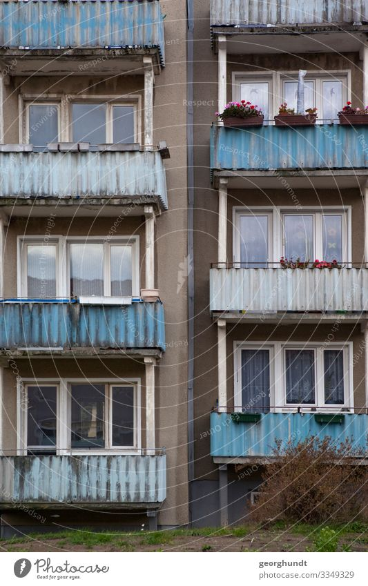 Panel by panel GDR New building New building block public housing Balcony Eastern Germany East German Small Town Penzlin Mecklenburg block of flats Facade