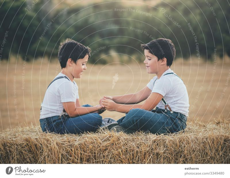 Brothers playing in the wheat field Child Human being Nature Summer Landscape Joy Lifestyle Funny Meadow Family & Relations Laughter Playing Together Friendship
