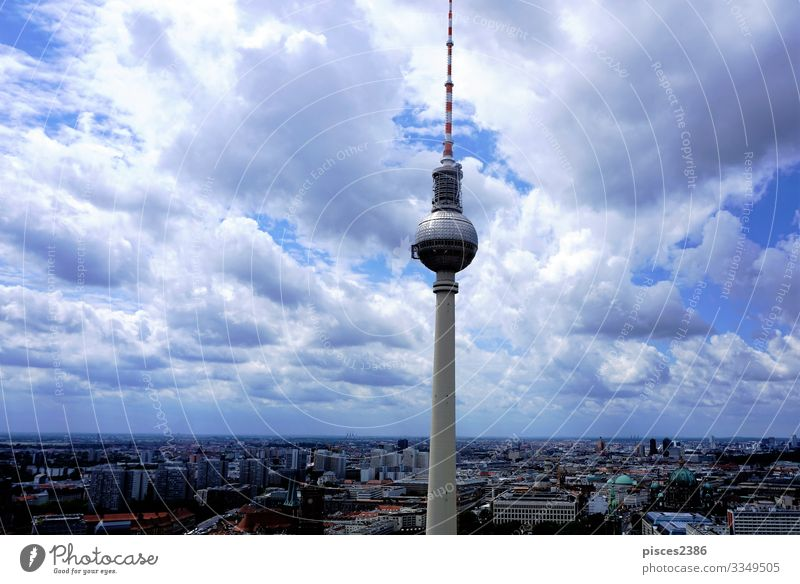 View over Berlin with television tower Vacation & Travel Television Downtown Skyline High-rise Air Traffic Control Tower Tall aerial Alexanderplatz architecture