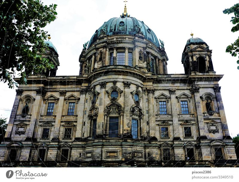 The Berlin cathedral behind trees Design Vacation & Travel Museum Downtown Dome Religion and faith ancient architecture attraction building capital