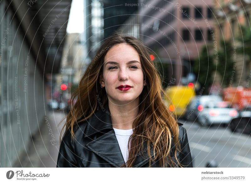 Portrait of a Young Woman in Black Trench Coat Lifestyle Lipstick Adults Youth (Young adults) Youth culture Stand Red White beauty shot Trench coat Caucasian