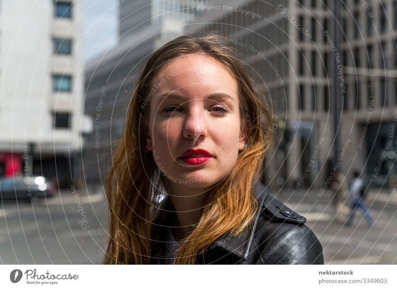 Portrait of young woman looking at the camera. Close up. Urban background. Lifestyle luck already Face Make-up Lipstick Woman Adults Youth (Young adults) built