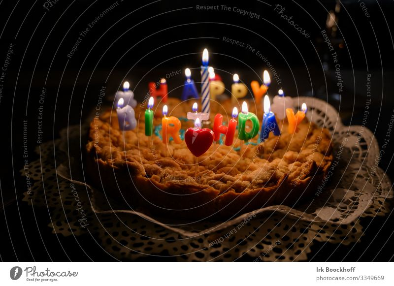 burning candles on the birthday cake Dough Baked goods Cake To have a coffee Joy Birthday shoulder stand Sign Feasts & Celebrations Communicate Authentic