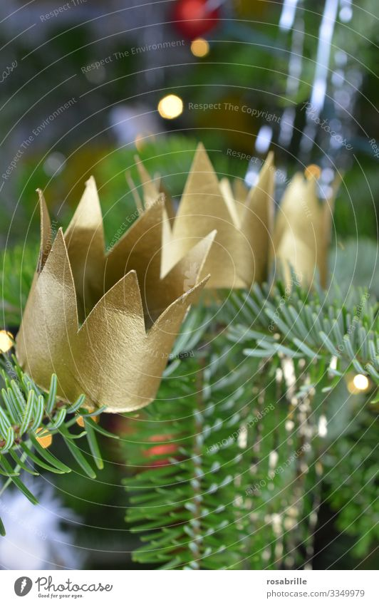three crowns for the holy three kings on the Christmas tree | triad Crown Twelfth Day golden christian Christianity Belief religion religious Decoration