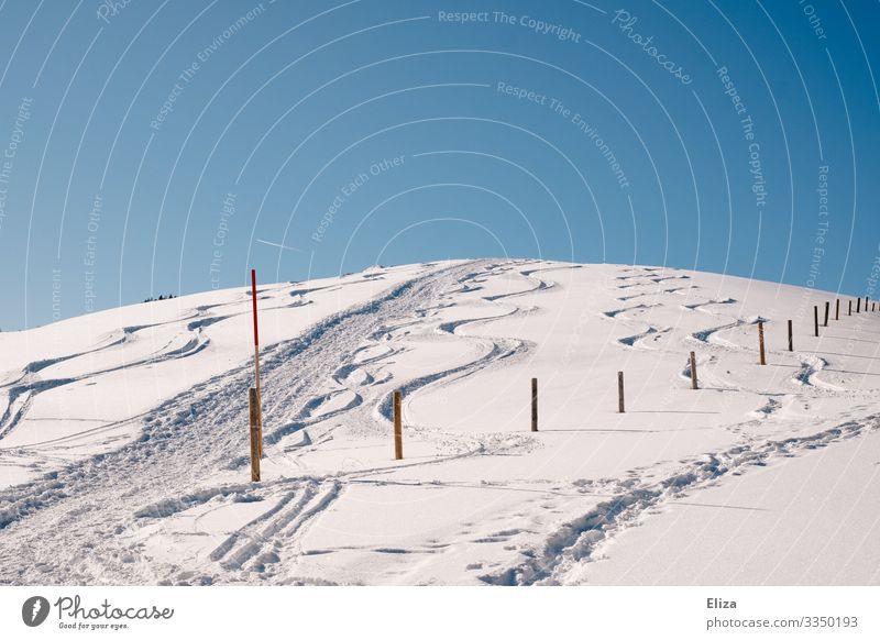 Schneeberg Nature Sky Cloudless sky Winter Snow Hill Mountain Snowcapped peak Cold Ski piste Pole Incline Snowscape Tracks Colour photo Exterior shot Deserted