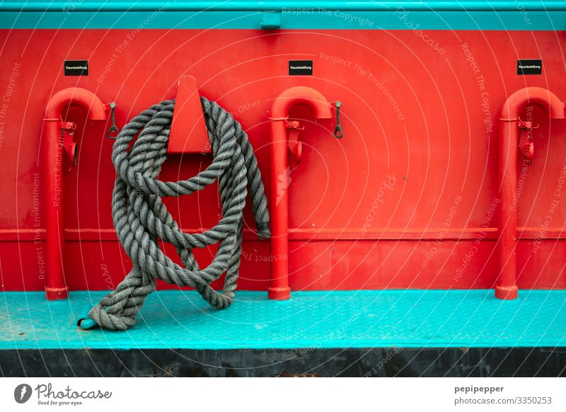 rope, ship Dew boat Red Metal variegated shipping Maritime Deserted Exterior shot Day Close-up reeds Cutter Turquoise Rope