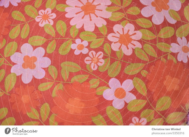 Fabric with flowers in orange, pink and green. 1970s Cloth Cotton plant Sign Flowery pattern Authentic Friendliness Happiness Hip & trendy Kitsch Retro Crazy