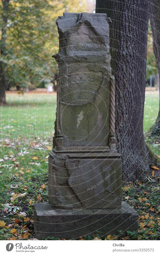 Old Gravestone Art Work of art Sculpture Nature Landscape Animal Autumn Deserted Park Monument Tombstone Sign Ornament Think Dream Sadness Dark Gloomy Emotions