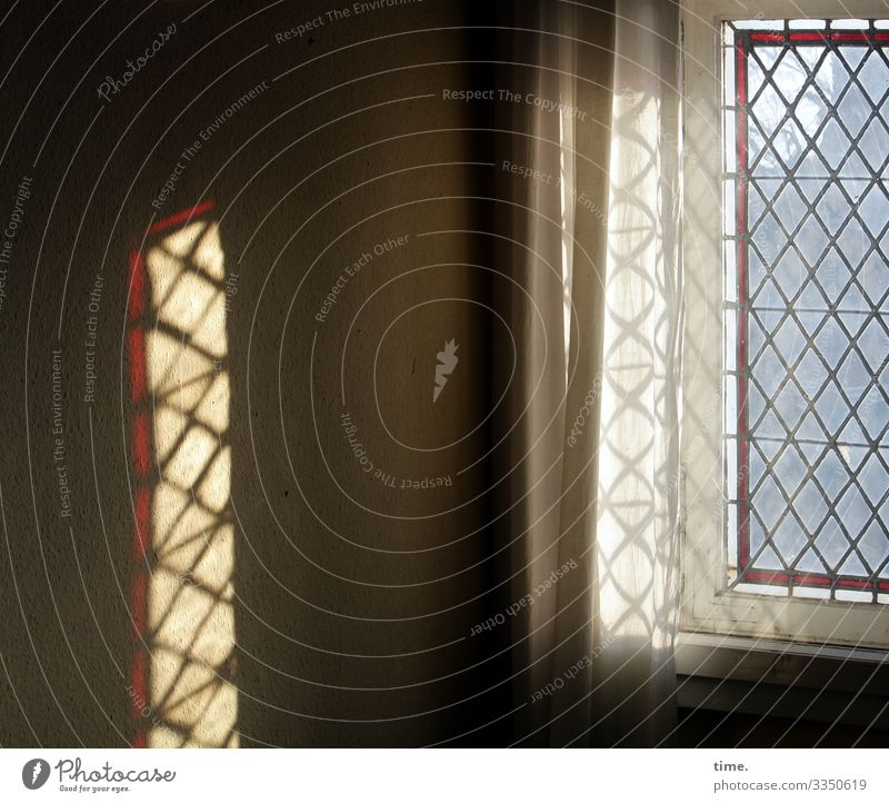Glimmers of hope | corona thoughts Window Shadow Sunlight reflection Wall (building) room Room Pattern structure Drape Curtain humility Lonely silent accounts