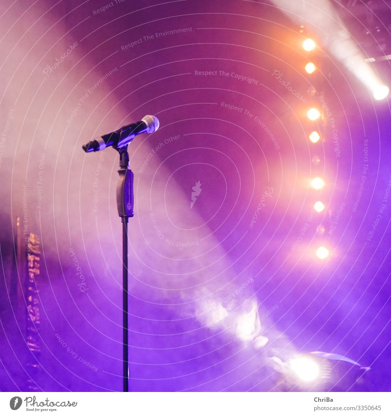 Microphone and spotlights in stage light Lifestyle Leisure and hobbies Music Night life Entertainment Event Club Disco Disc jockey Going out
