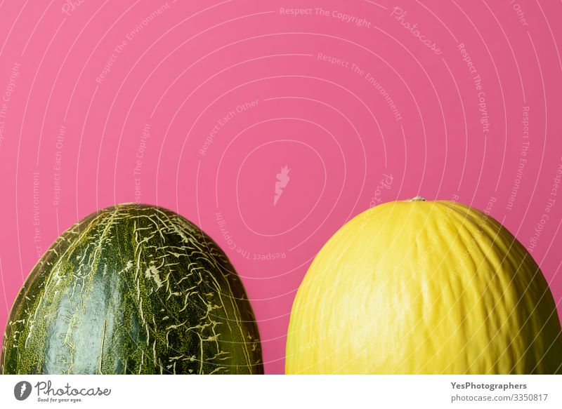 Fresh whole melons. Honeydew melon and frog skin melons Fruit Dessert Organic produce Diet Healthy Eating Delicious colorful Copy Space cucurbitaceae diet food