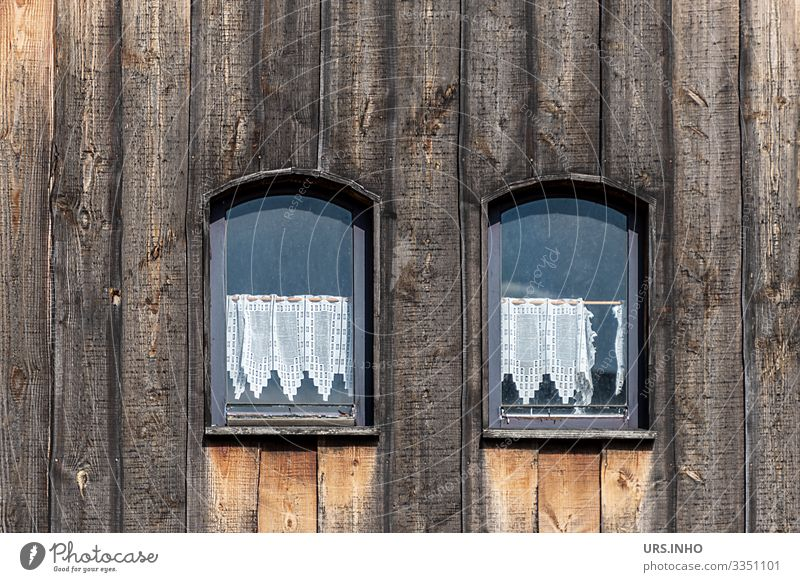 Small windows in a wooden facade Deserted House (Residential Structure) Hut Manmade structures Window Wood Old Authentic Historic Cute Brown Black Wood Facade
