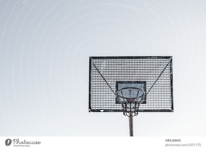 Outdoor basketball hoop against a light background Sports Basketball Basketball goal Goal Metal Sharp-edged Simple Blue Gray Black White Fitness