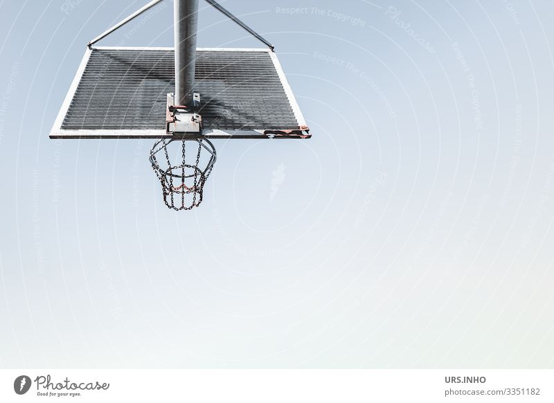 Basketball hoop in front of a blue sky Sports Ball sports Basketball basket Metal Rust Throw Sharp-edged Round Blue Gray Fitness Leisure and hobbies Net
