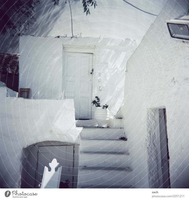analogue picture of a typical greek village Greece Folegandros Analog Island Cyclades Ocean Mediterranean sea the Aegean Exterior shot analogue photography
