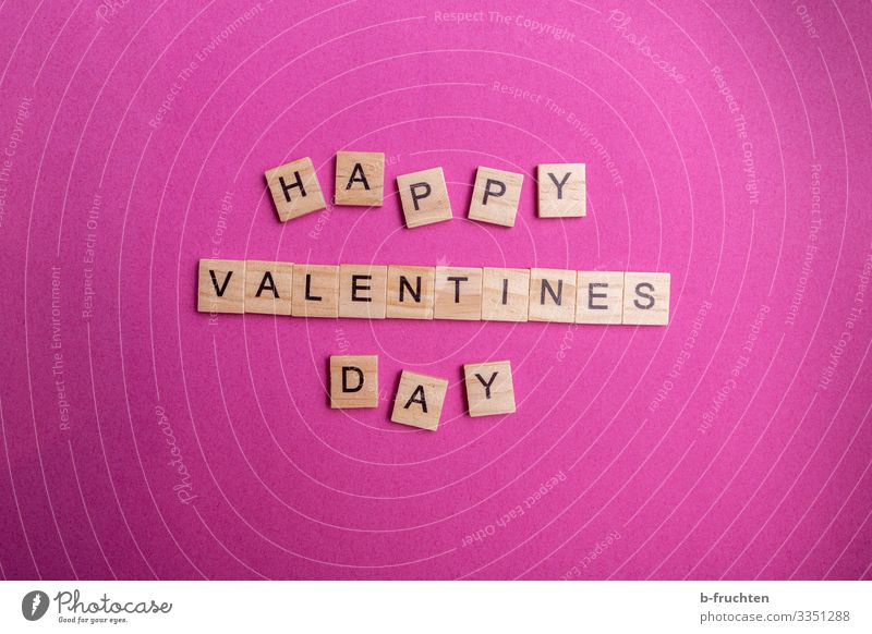 Happy Valentine Feasts & Celebrations Valentine's Day Paper Characters Reading Write Brash Crazy Pink Scrabble Happiness Love Loyalty Infatuation Colour photo