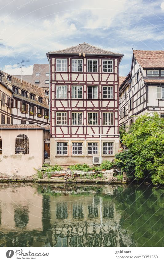 City trip Strasbourg 1/5 Sky Summer Beautiful weather Tree Brook River France Europe Town Downtown Old town House (Residential Structure) Wall (barrier)