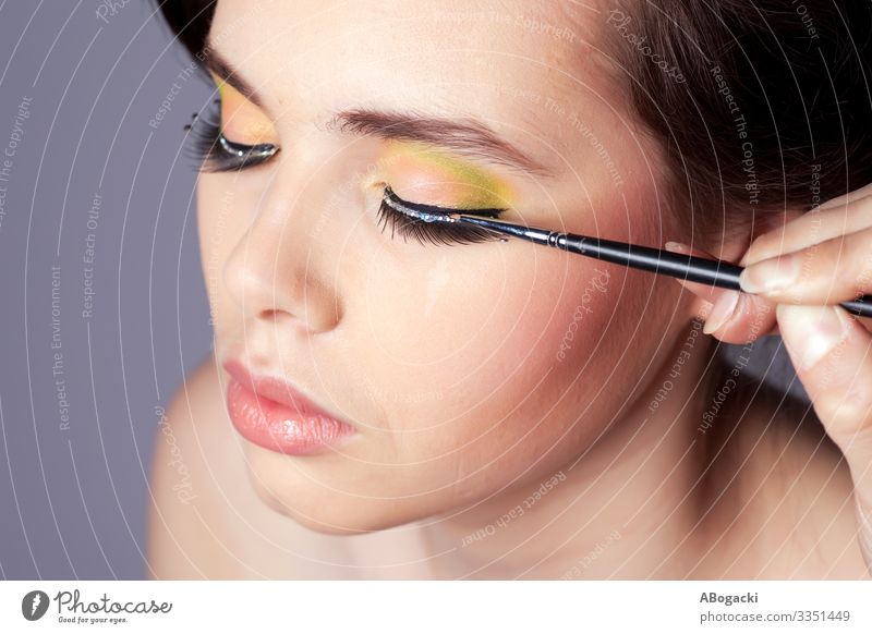 Applying Makeup Beauty Portrait Beautiful Skin Cosmetics Make-up Wellness Human being Woman Adults Long Blue Beauty Photography attractive people head glamour