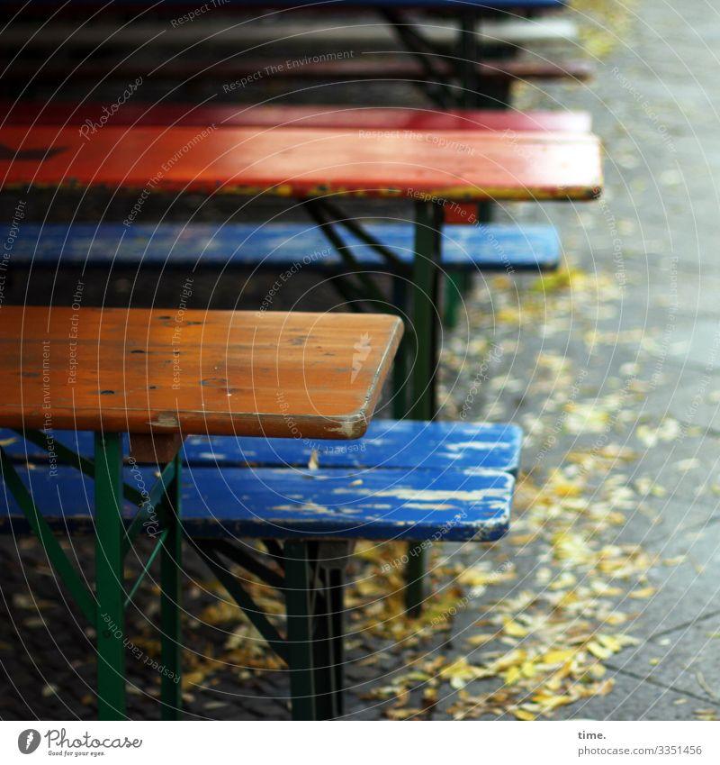 existential exit | corona thoughts Gastronomy bench Table Sidewalk café out Empty Footpath Autumn leaves beer set variegated somber Lonely fear of living