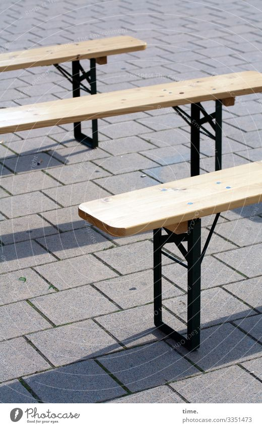 Waiting for customers (2)   corona thoughts Gastronomy Empty Metal Wood Lonely at the same time in common free time Break Bench bench folding bench paved urban
