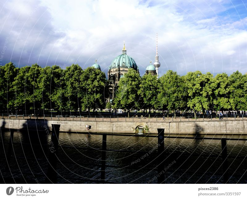 Berlin cathedral with Spree river and trees Design Vacation & Travel Museum Downtown Dome Religion and faith ancient architecture attraction building capital