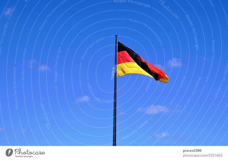 German flag in front of blue sky Vacation & Travel Business Wind Flag Yellow Background picture Berlin black clear cloud color country culture democracy EU