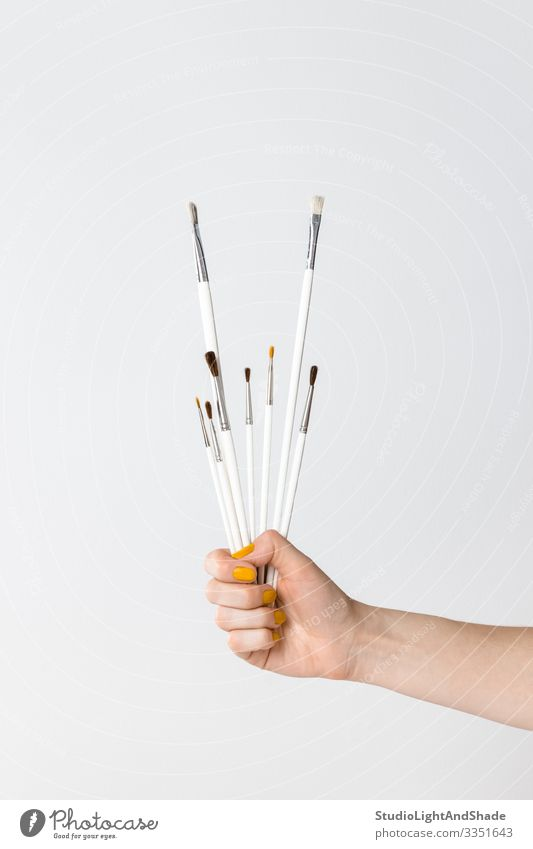 Hand holding white paintbrushes Leisure and hobbies Craft (trade) Human being Woman Adults Art Simple Modern Yellow Gray White Colour Creativity Hold Set