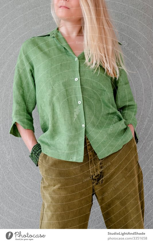 Artistic person in green clothes Beautiful Summer Human being Young woman Youth (Young adults) Woman Adults Fashion Clothing Shirt Pants Blonde Long-haired Free