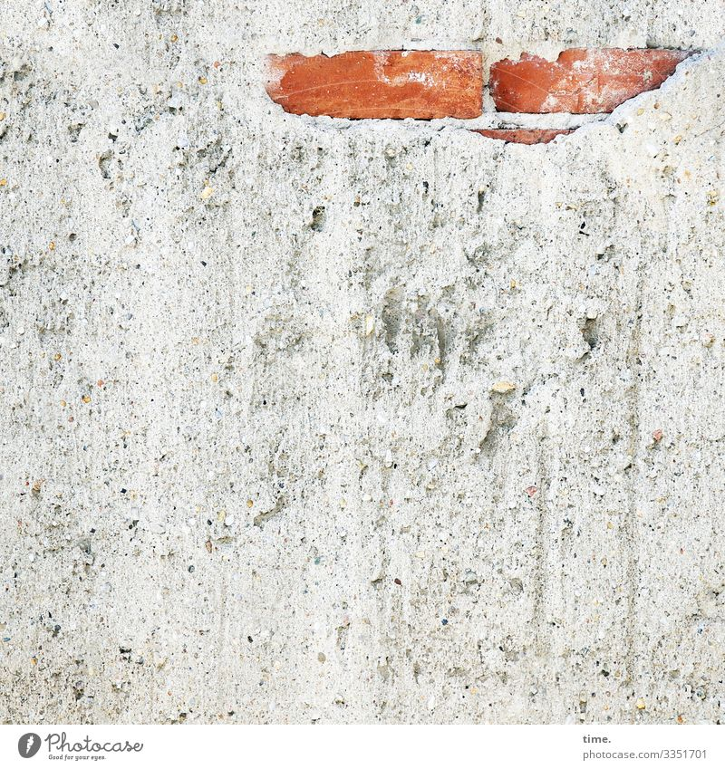 cute ::: Brick pieskt from mortar facade brick wall Facade detail Plaster Construction site Building material plaster mortar Coating Surface discovery look out
