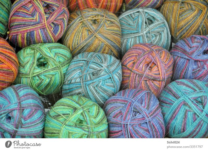 balls of wool Shopping Leisure and hobbies Knit Fashion Blue Multicoloured green Orange Pink Arrangement Sewing thread Wool Ball of wool Bundle Color gradient