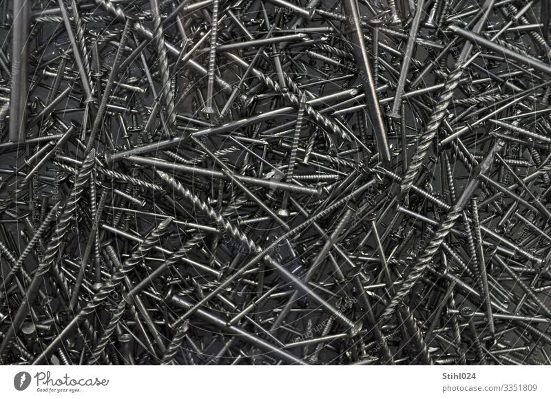 many different nails are mixed up Home improvement Craft (trade) Screw nail Metal Lie Gray Black Silver Point Direct Steel Muddled Chaos Diameter