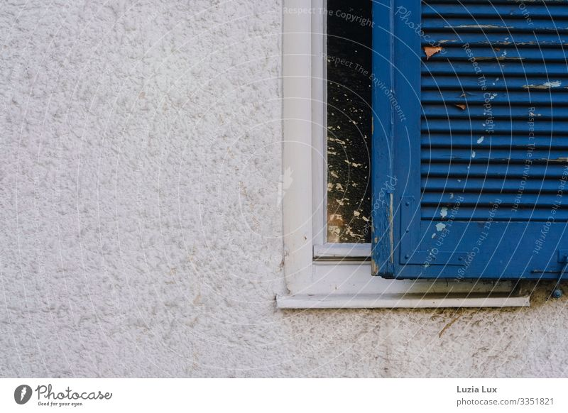 Window with blue shutter Flat (apartment) House (Residential Structure) Wall (barrier) Wall (building) Facade Windowsill Old Beautiful Blue White Moody